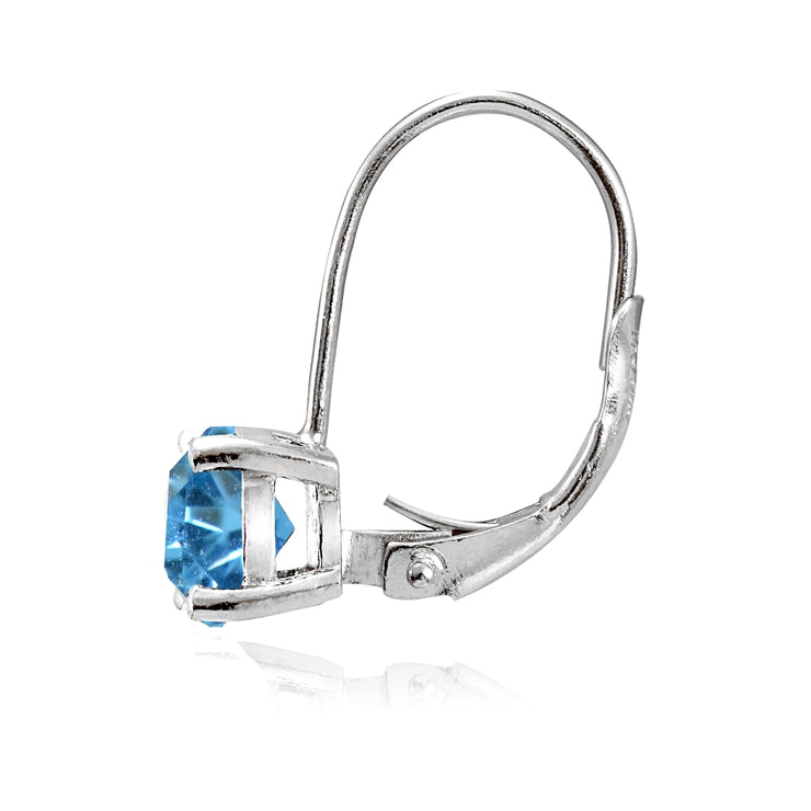 Sterling Silver Created Blue Topaz 6mm Round Leverback Earrings