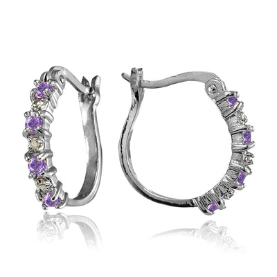 Sterling Silver Polished Simulated Amethyst Round Hoop Earrings