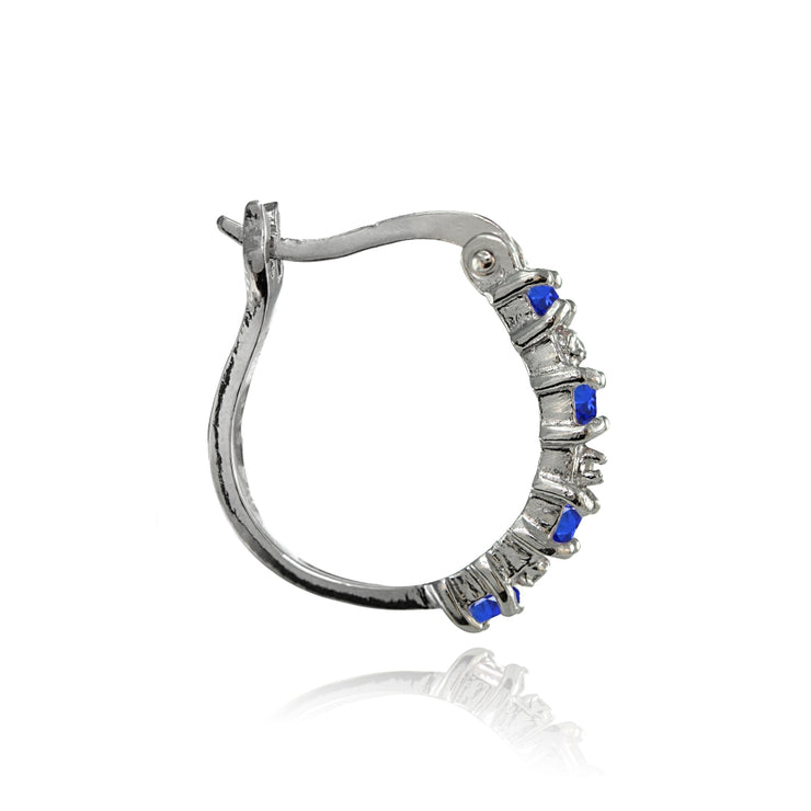 Sterling Silver Polished Created Blue Sapphire Round Hoop Earrings