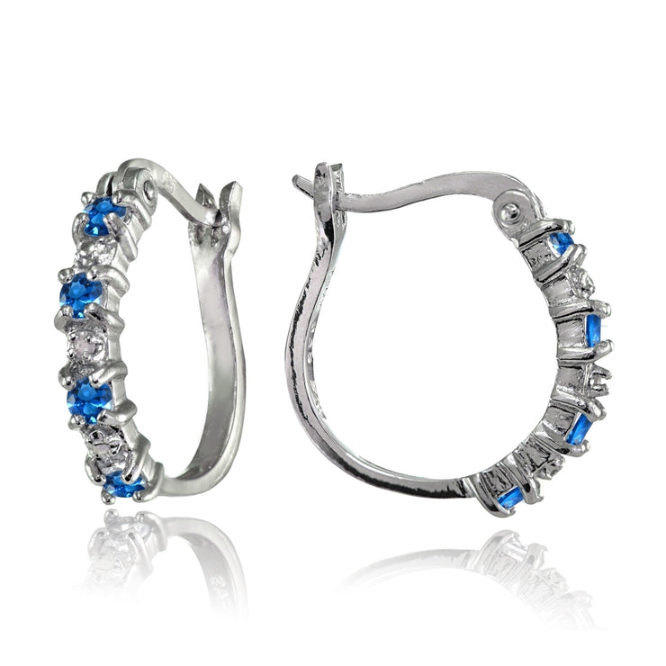 Sterling Silver Polished Created London Blue Topaz Round Hoop Earrings
