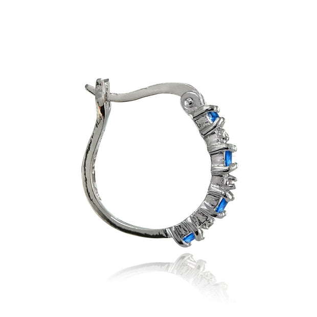 Sterling Silver Polished Simulated London Blue Topaz Round Hoop Earrings