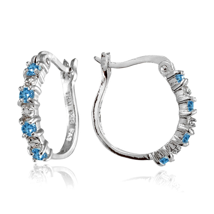 Sterling Silver Polished Created Blue Topaz Round Hoop Earrings