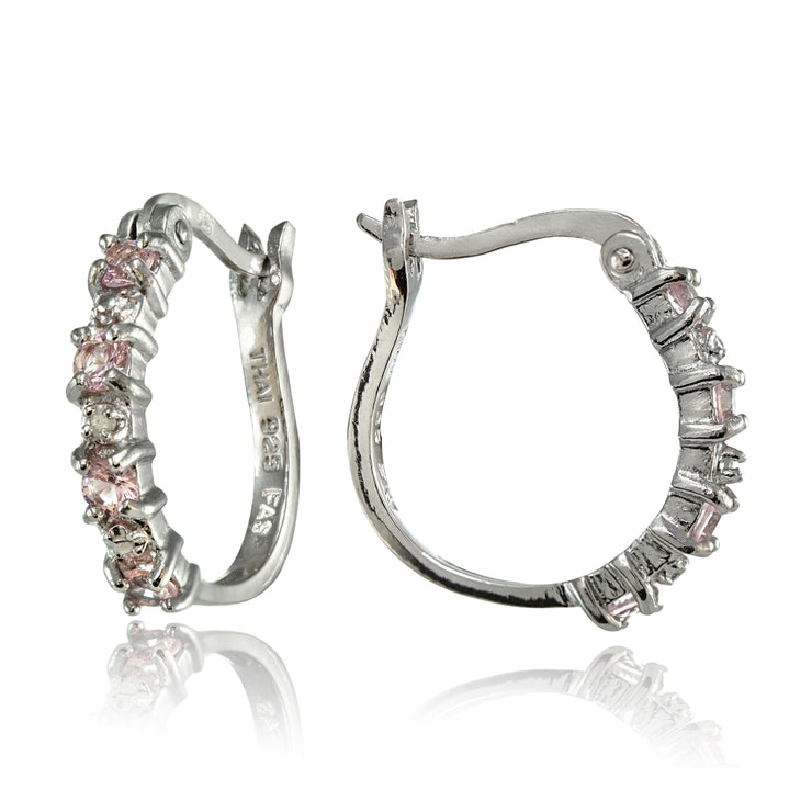 Sterling Silver Polished Created Pink Tourmaline Round Hoop Earrings