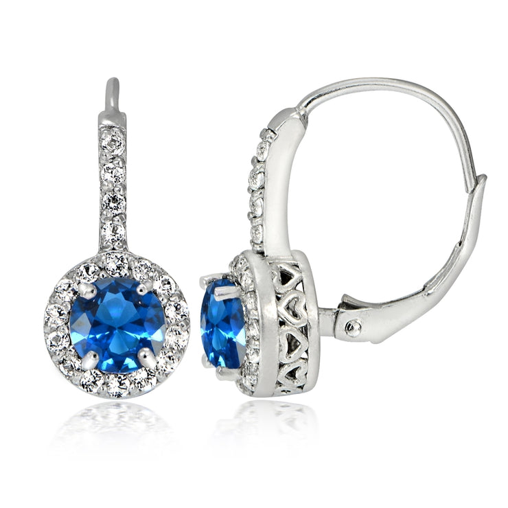 Sterling Silver Created London Blue Topaz 5mm Round and CZ Accents Leverback Earrings