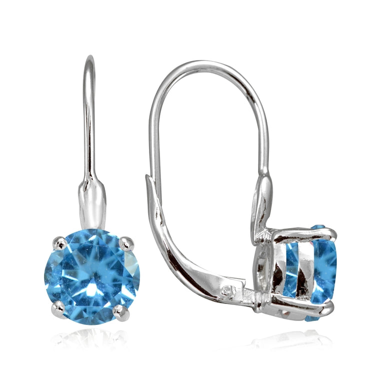 Sterling Silver Created Blue Topaz 7mm Round Solitaire Leverback Earrings