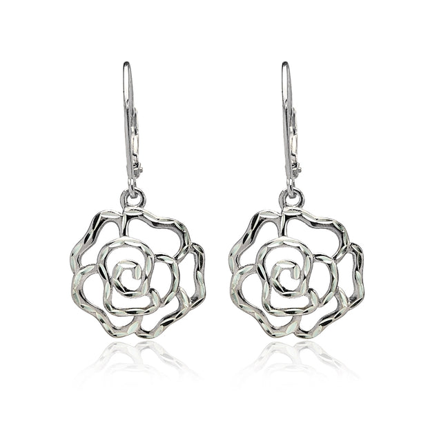 Sterling Silver  Diamond-cut Rose Flower Dangle Leverback Earrings