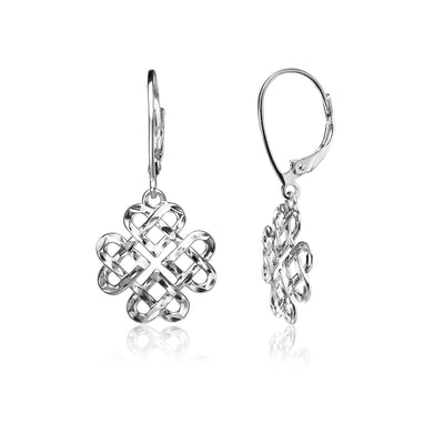 Sterling Silver Diamond-cut Celtic Heart Love Knot Leverback Earrings