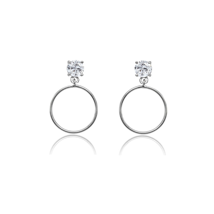 Sterling Silver 4mm Cubic Zirconia Dangling Round Hoop Stud Earrings