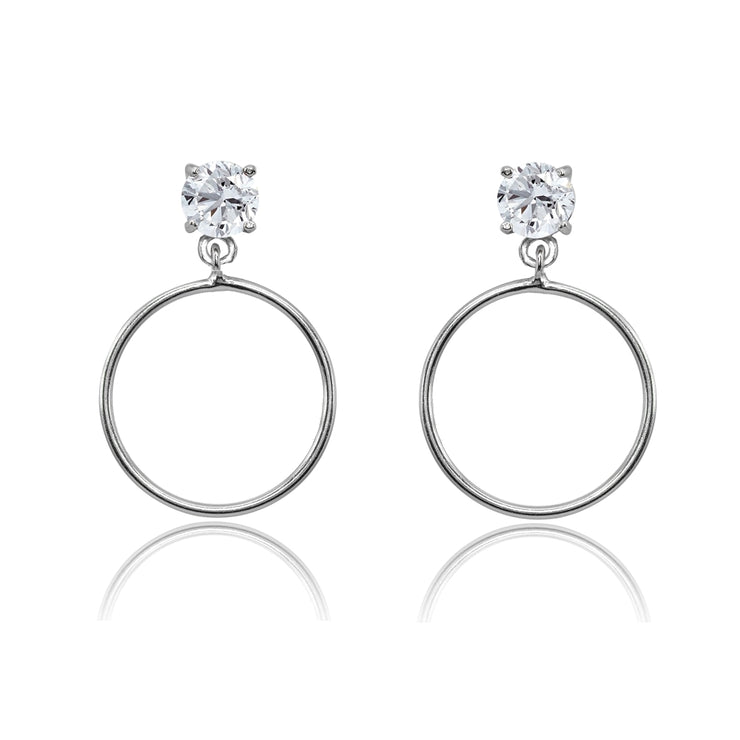 Sterling Silver 5mm Cubic Zirconia Dangling Round Hoop Stud Earrings