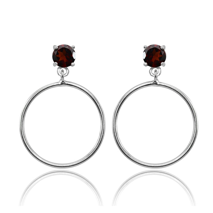 Sterling Silver 6mm Garnet Dangling Round Hoop Stud Earrings