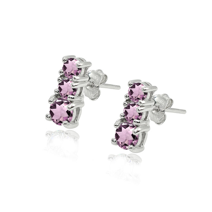 Sterling Silver Created Alexandrite Round Graduating Three Stone Stud Earrings