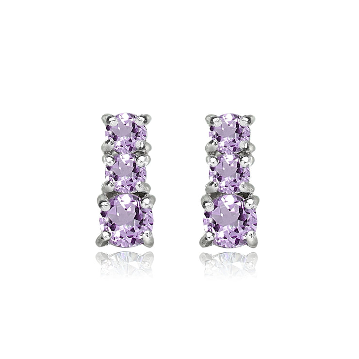 Sterling Silver Amethyst Round Graduating Three Stone Stud Earrings