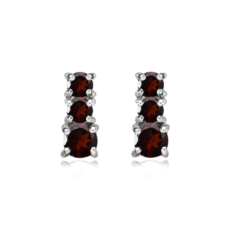 Sterling Silver Garnet Round Graduating Three Stone Stud Earrings