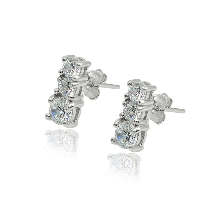 Sterling Silver Cubic Zirconia Round Graduating Three Stone Stud Earrings