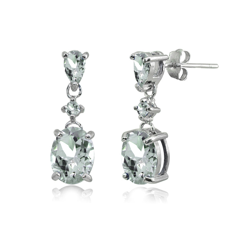Sterling Silver Light Aquamarine Oval Three Stone Dangling Stud Earrings