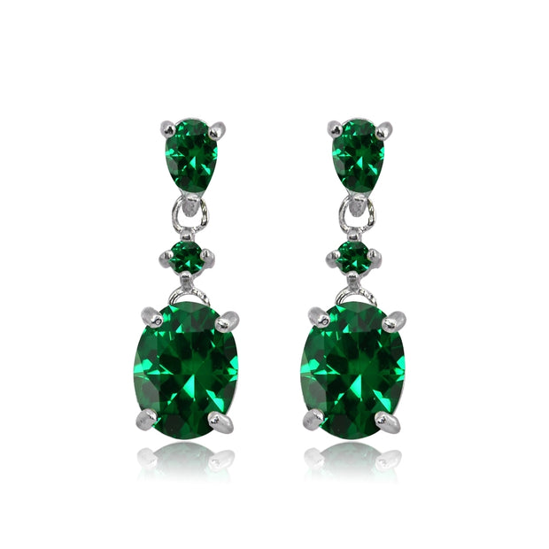 Sterling Silver Simulated Emerald Oval Three Stone Dangling Stud Earrings