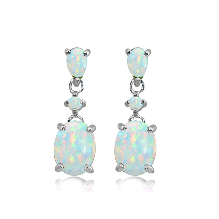 Sterling Silver Created White Opal Oval Three Stone Dangling Stud Earrings