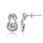 Sterling Silver Cubic Zirconia Round Polished Knot Stud Earrings