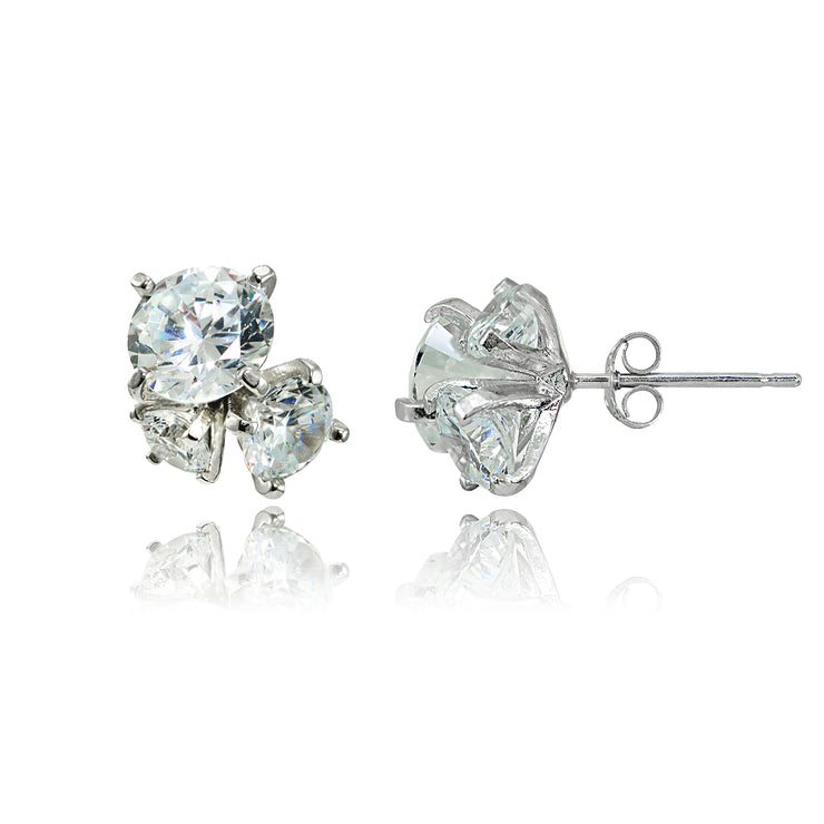 Sterling Silver Cubic Zirconia Round Cluster Graduated Three Stone Stud Earrings