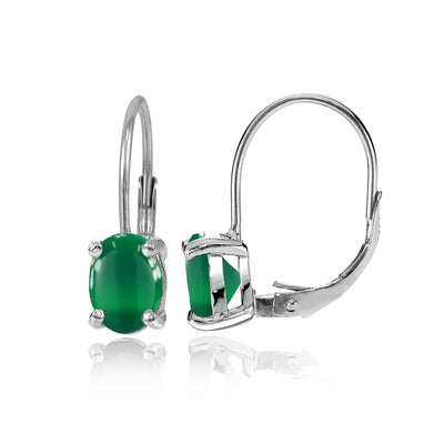 Sterling Silver Simulated Green Agate 8x6mm Oval Solitaire Leverback Earrings