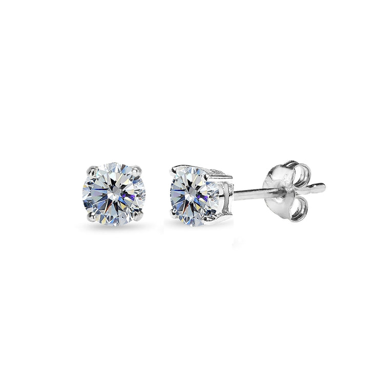 Sterling Silver 4mm Clear Stud Earrings Made with Swarovski Crystals