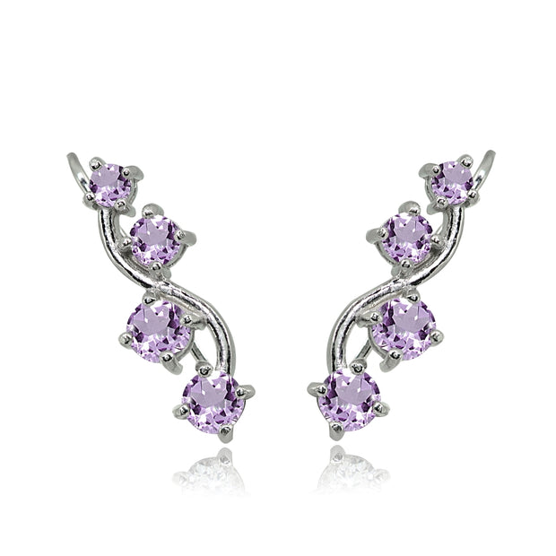Sterling Silver Amethyst Vine Climber Crawler Earrings
