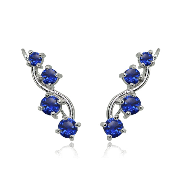 Sterling Silver Created Blue Sapphire Vine Climber Crawler Earrings