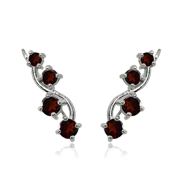 Sterling Silver Garnet Vine Climber Crawler Earrings