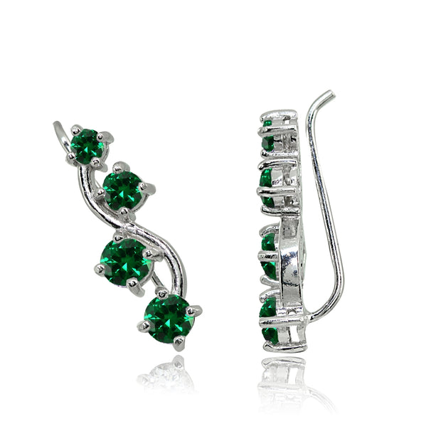 Sterling Silver Simulated Emerald Vine Climber Crawler Earrings