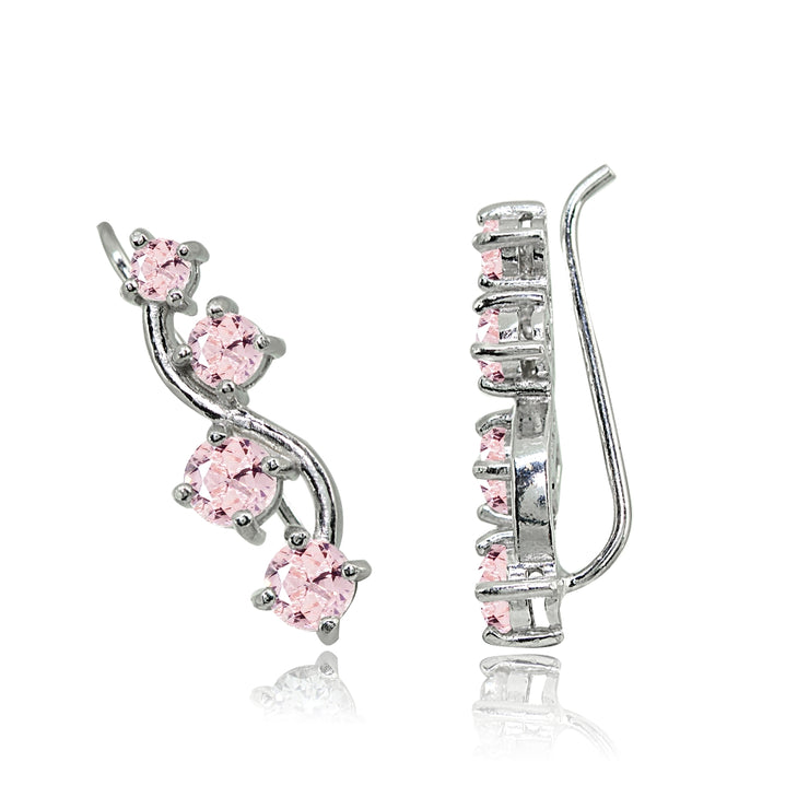 Sterling Silver Created Morganite Vine Climber Crawler Earrings