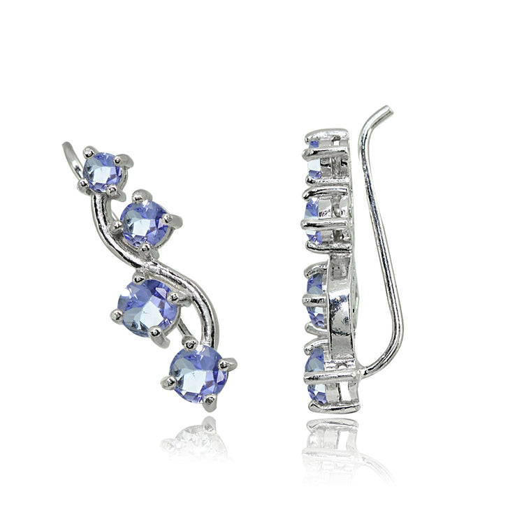 Sterling Silver Tanzanite Vine Climber Crawler Earrings