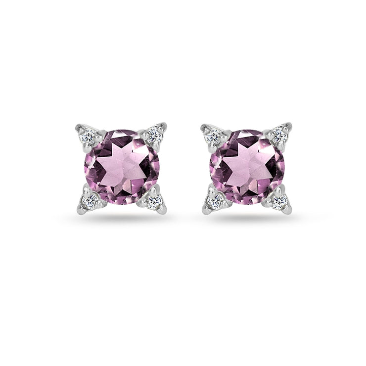 Sterling Silver Created Alexandrite & White Topaz Studded Solitaire Stud Earrings