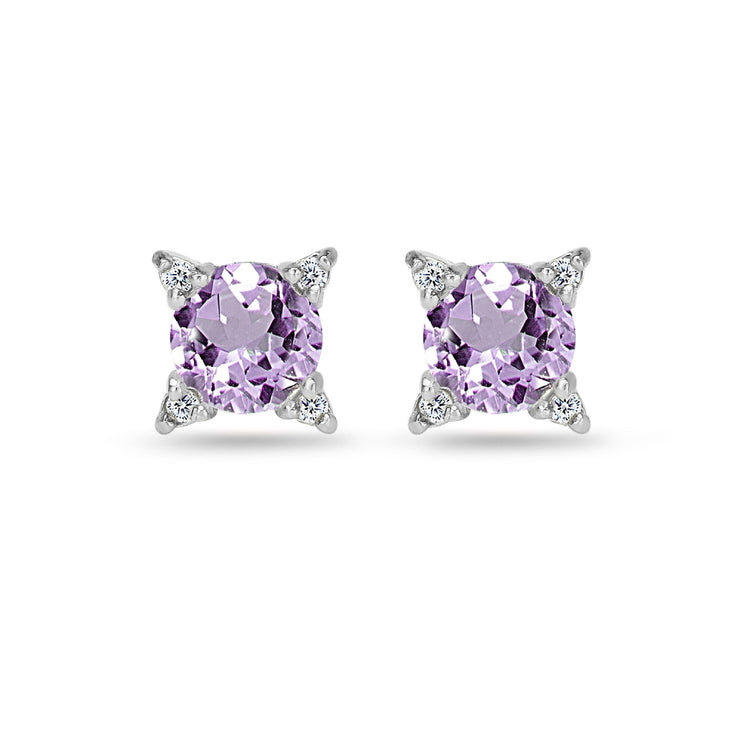 Sterling Silver Amethyst & White Topaz Studded Solitaire Stud Earrings