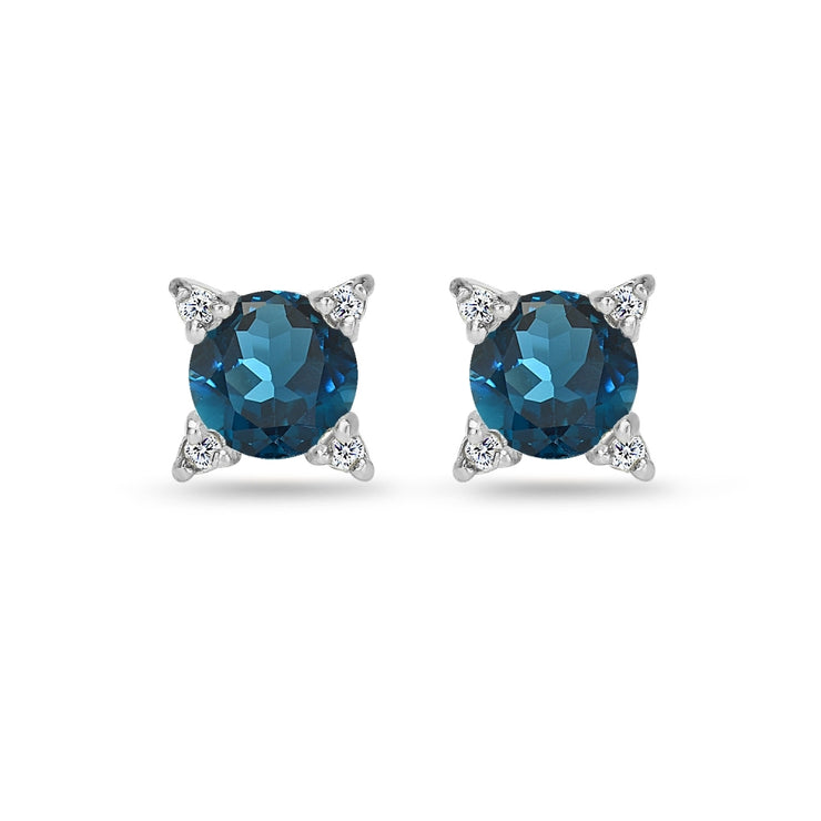 Sterling Silver London Blue & White Topaz Studded Solitaire Stud Earrings