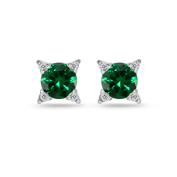 Sterling Silver Created Emerald & White Topaz Studded Solitaire Stud Earrings