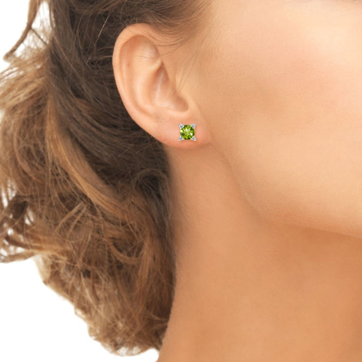 Sterling Silver Peridot & White Topaz Studded Solitaire Stud Earrings
