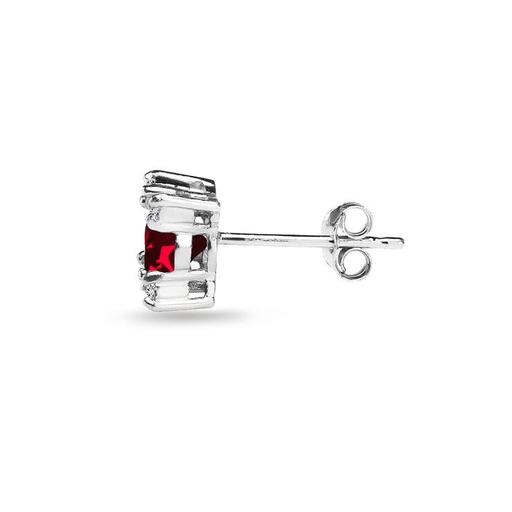 Sterling Silver Created Ruby & White Topaz Studded Solitaire Stud Earrings