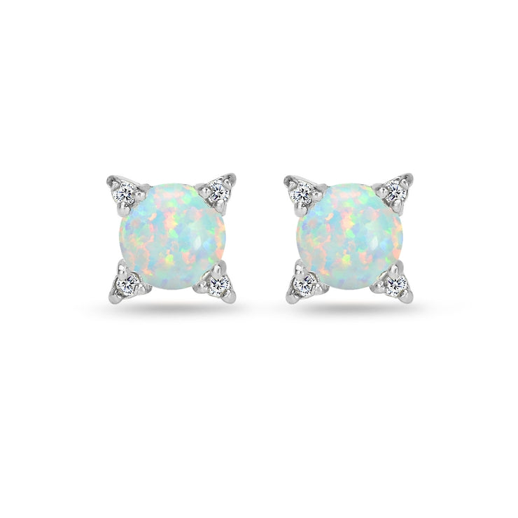 Sterling Silver Created Opal & White Topaz Studded Solitaire Stud Earrings