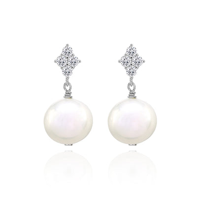 Sterling Silver Simulated White Pearl Dangle Earrings with CZ Accents