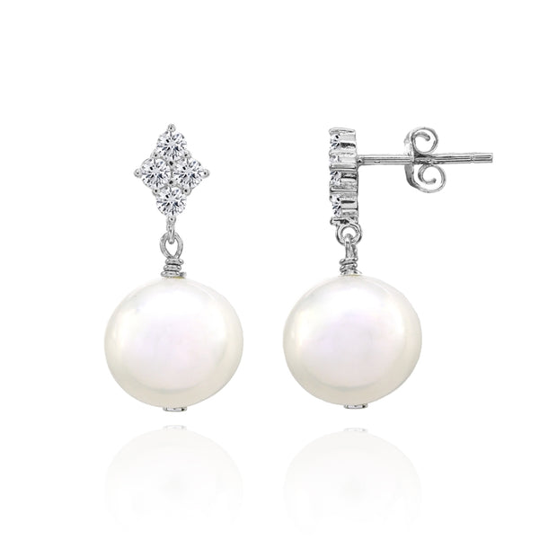 Sterling Silver Created White Pearl Dangle Earrings with CZ Accents