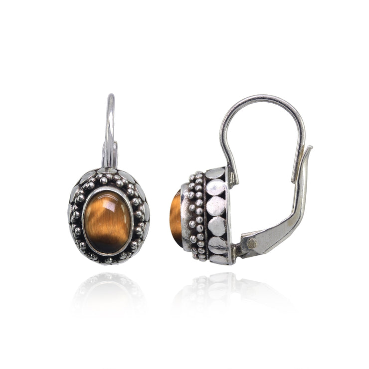 Sterling Silver Created Tiger's Eye Thick Oxidized Bali Bead Leverback Earrings