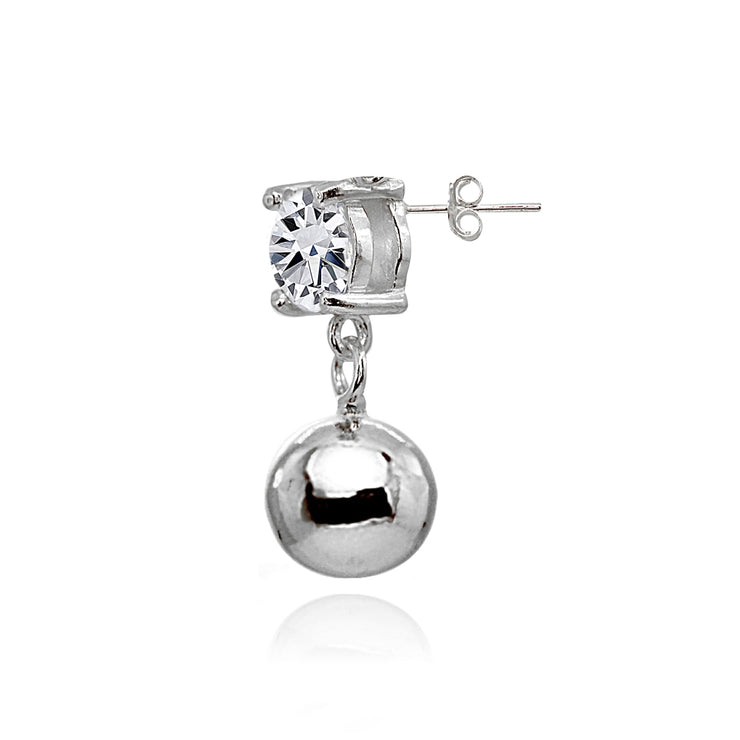 Sterling Silver Cubic Zirconia 4mm Dangling Round Bead Stud Earrings
