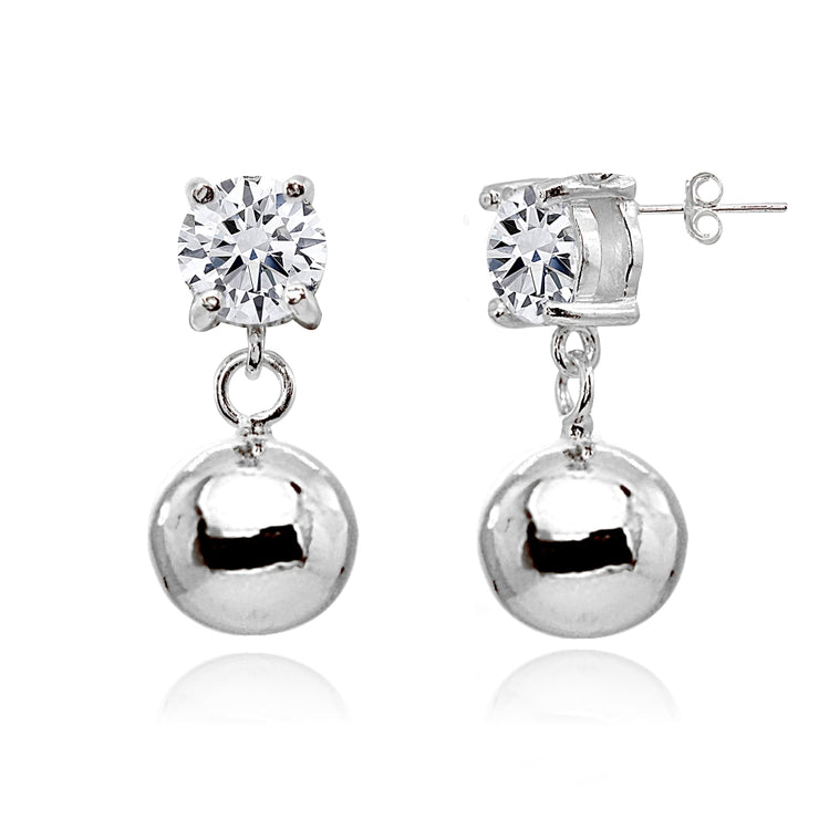 Sterling Silver Cubic Zirconia 5mm Dangling Round Bead Stud Earrings