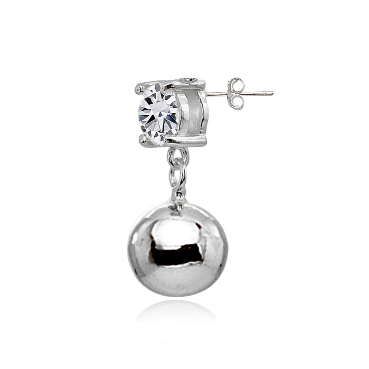 Sterling Silver Cubic Zirconia 6mm Dangling Round Bead Stud Earrings