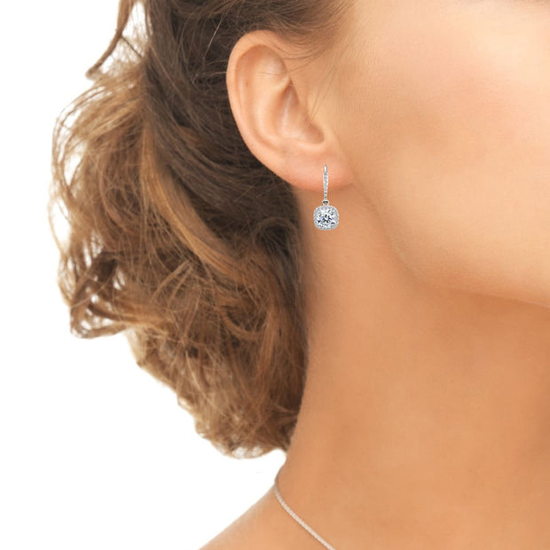 Sterling Silver Cushion-Cut Dangle Halo Leverback Earrings Made with Swarovski Zirconia