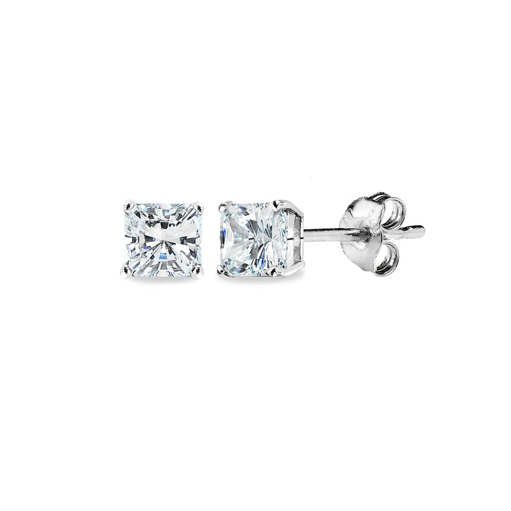 Sterling Silver AAA Cubic Zirconia 4x4mm Princess-Cut Square Stud Earrings