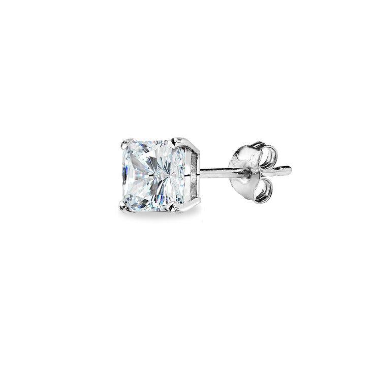 Sterling Silver AAA Cubic Zirconia 5x5mm Princess-Cut Square Stud Earrings