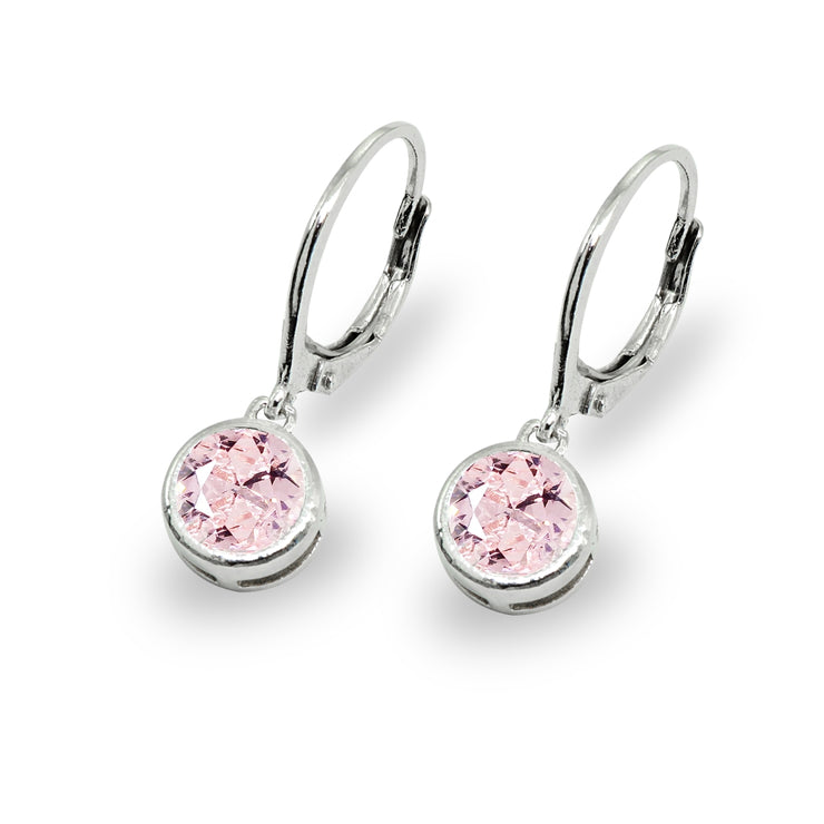 Sterling Silver Siimulated Morganite 6mm Round Bezel-Set Dangle Leverback Earrings