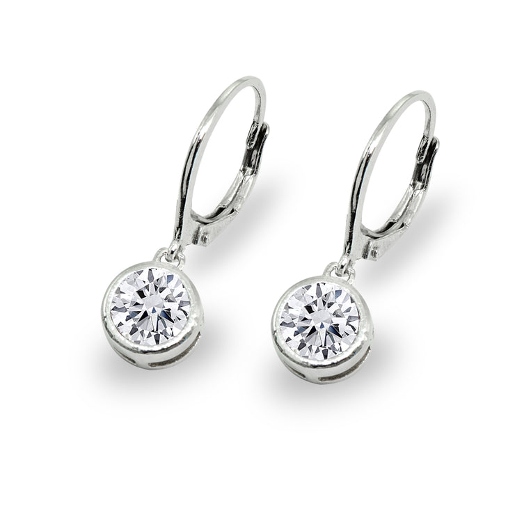 Sterling Silver Cubic Zirconia 6mm Round Bezel-Set Dangle Leverback Earrings
