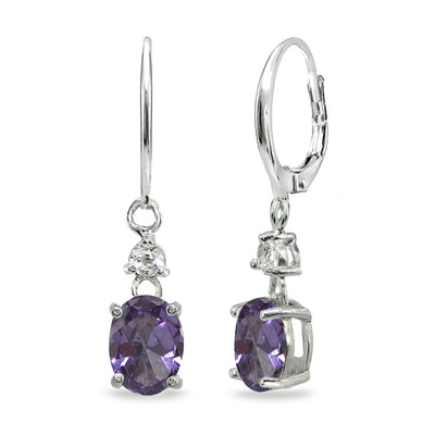 Sterling Silver Simulated Alexandrite & White Topaz 8x6mm Oval Dangle Leverback Earrings